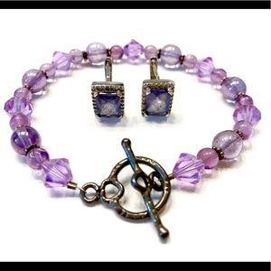 Jewelry - 💎💜 Vintage Purple Bracelet Earrings Set 💜💎